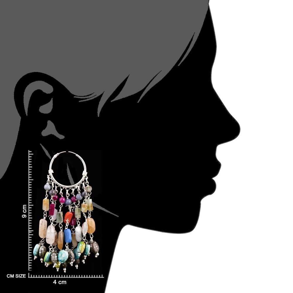 Tribal 92.5 Sterling Silver Earrings Chandelier Multi Stone Hoop Earrings