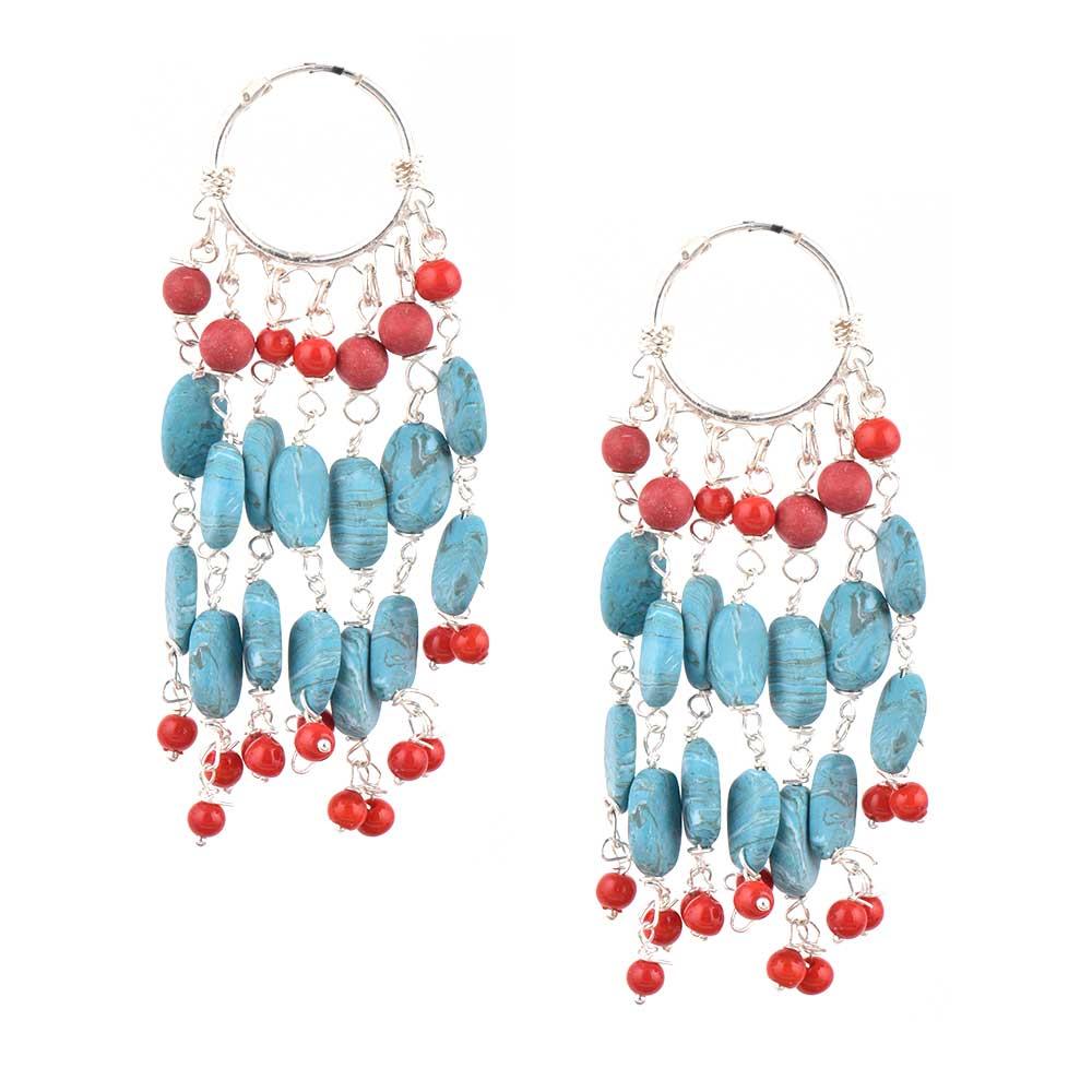 92.5 Sterling Silver Turquoise Bali Hoop Chandelier Earrings