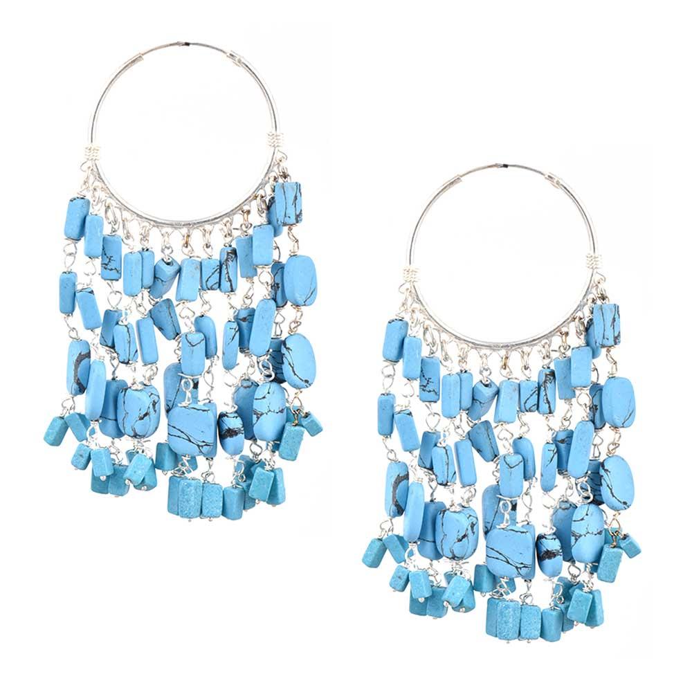 92.5 Sterling Silver Turquoise Chandelier Hoop Tribal Earrings