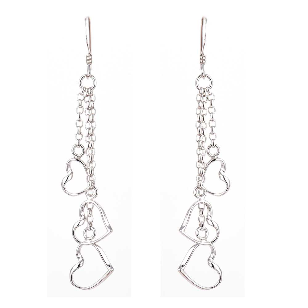 92.5 Sterling Silver Heart Chain Hanging Earrings