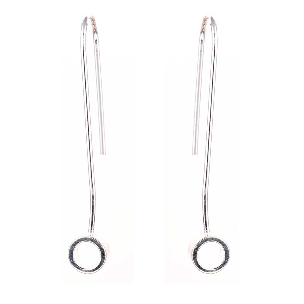 92.5 Sterling Silver Dangler Hoop Weatern Earrings