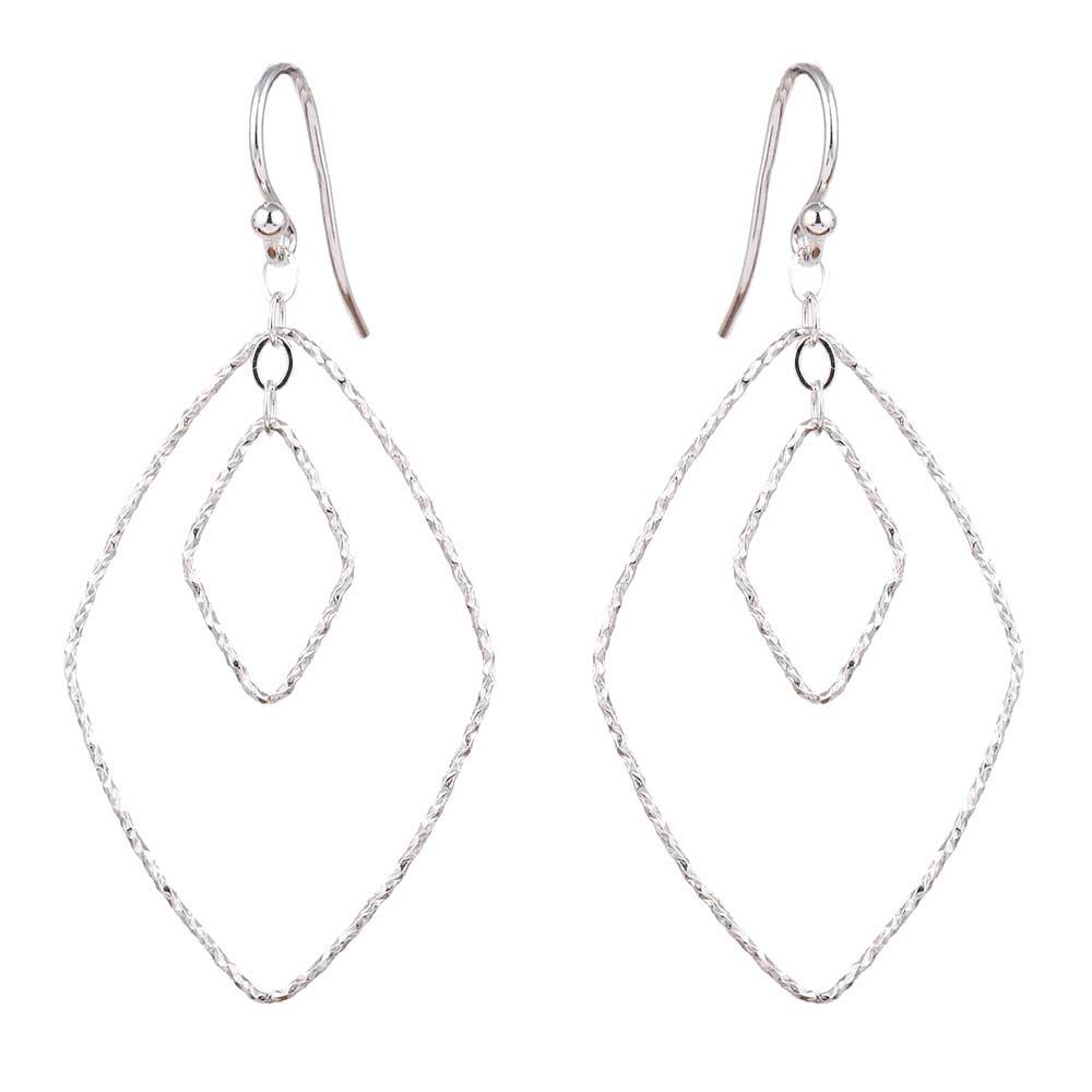 92.5 Sterling Silver Diamond Shaped Hoop Earrings