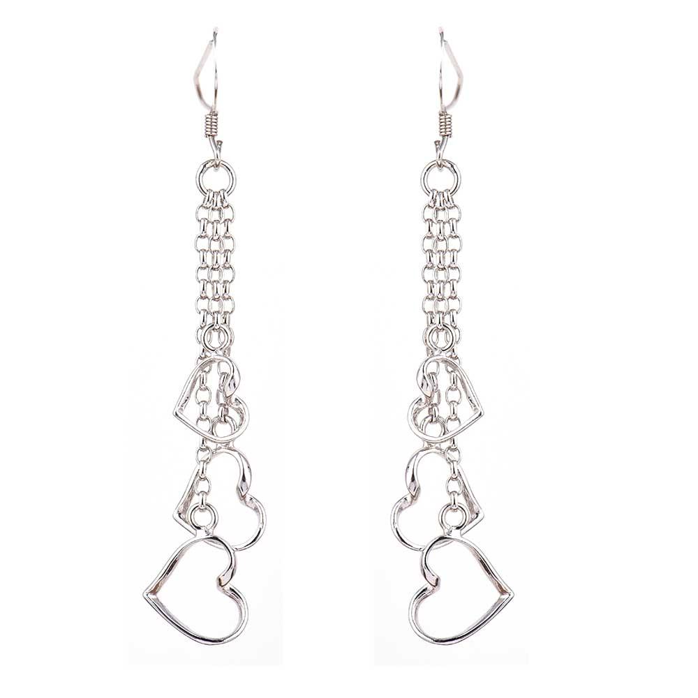 Heart Charms Long Chain 92.5 Sterling Silver Dangle Earrings