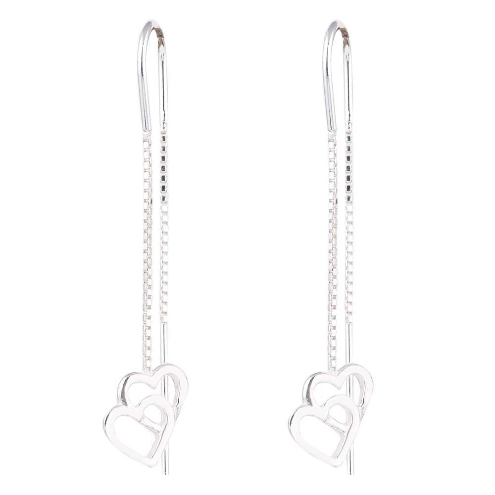 Dancing Hearts 92.5 Sterling Silver Chain Dangle Earrings