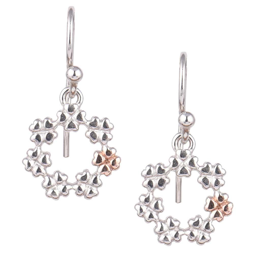 Small Flower Round 92.5 Sterling Silver Hoop Earrings