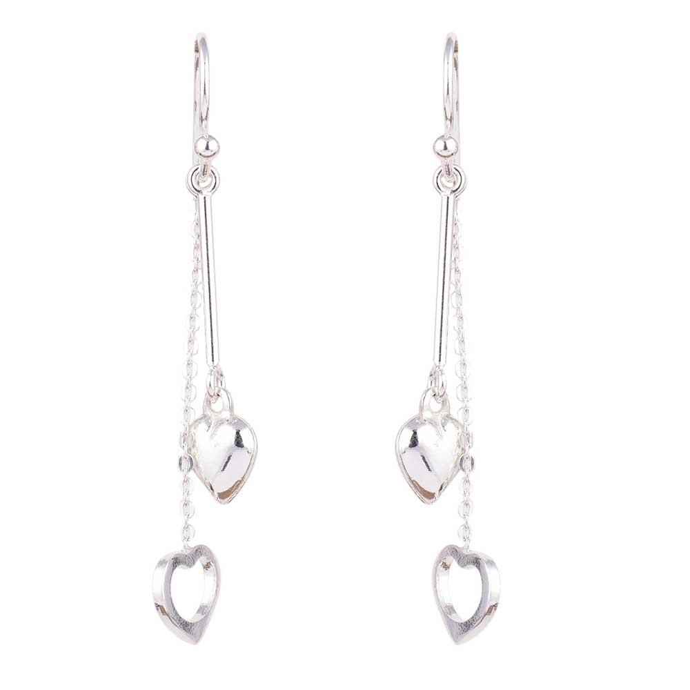 Dual Heart Charms 92.5 Sterling Silver Dangle Earrings