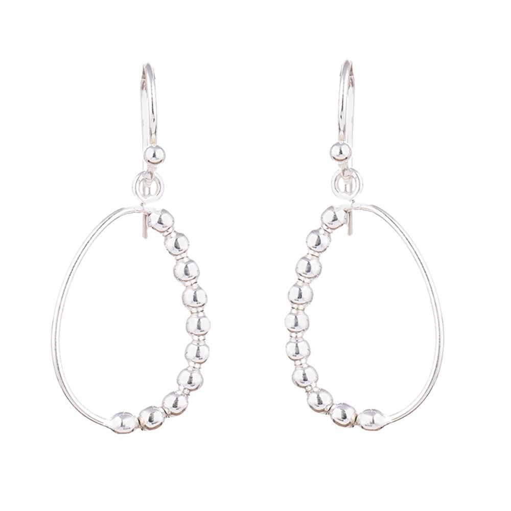 One Sided Silver Beads 92.5 Sterling Silver Hoop earrings