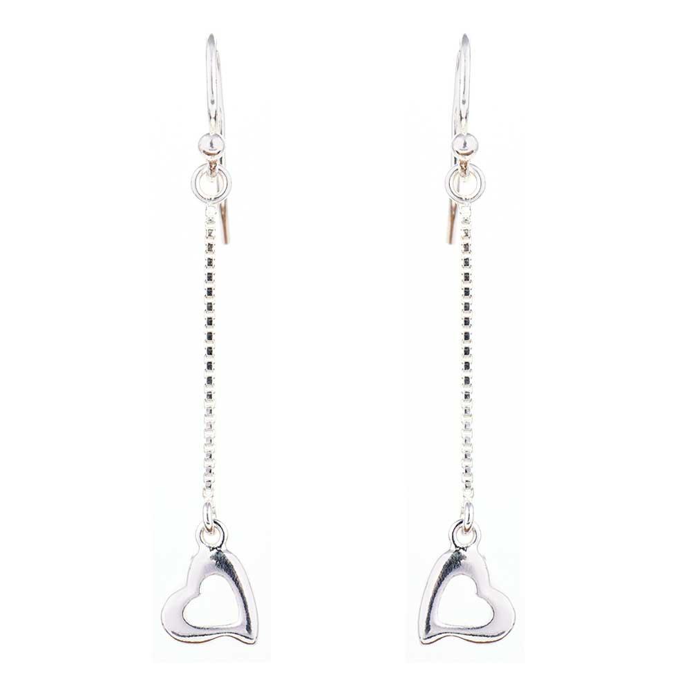 92.5 Sterling silver Heart Charm Chain Drop Earrings
