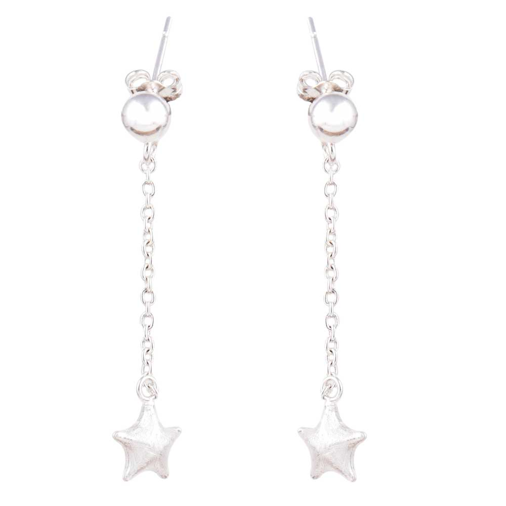 Fashion 92.5 Sterling Silver Star Earrings Long Chain hanging Earring