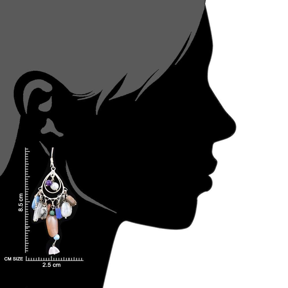 Colorful Stone 92. 5Sterling Stone Earrings Cascade Hippie Earrings