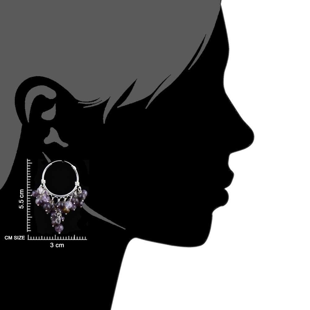 92.5 Sterling Silver Dangle Earrings Grape Bunch Purple Stone Beads
