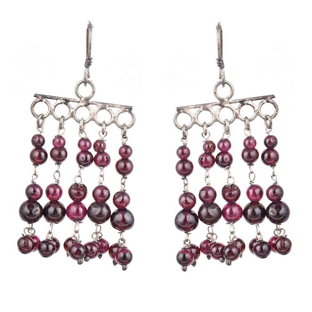 92.5 Sterling Silver Earrings Purple Bead Chandelier Earrings