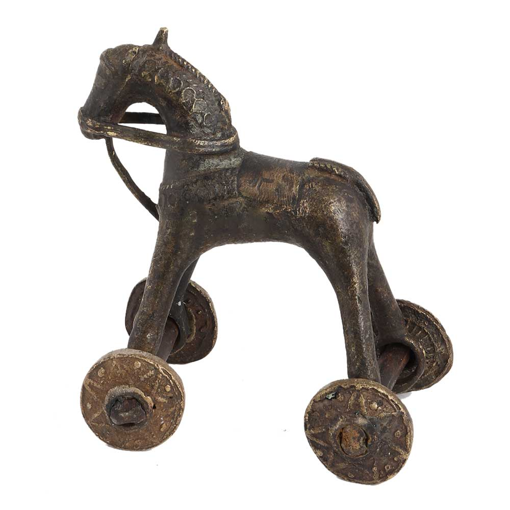 Old Used Brass Horse Rider On Wheels Temple Toy