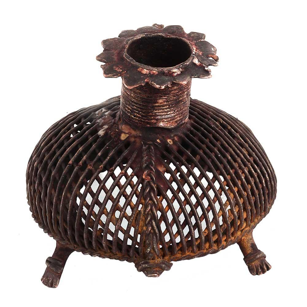 Brass Dokra Art Jali Design Tortoise Candle Holder