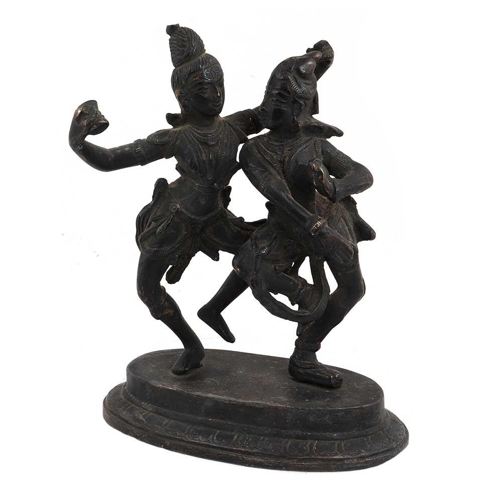 Brass Indian God Shiva And Goddess Parvati Dance Statue