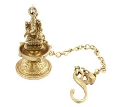 Brass Ganesha Figurine Hanging Four Wick Diya With Thick Chain