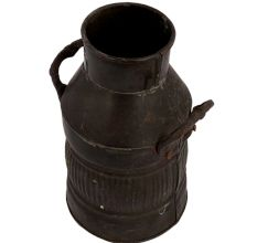 Old Traditional Brass Milk Can Style Vase Or Jug