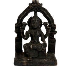 Black Brass Goddess Laxmi Statue On Chowki And Prabhavali