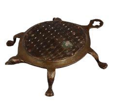 Vintage Brass Tortoise With Hook Coconut Scraper