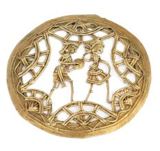 Cast Brass Tribal Couple Wall Hanging