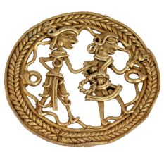 Brass Wall Art Village Couple Going For Daily Job