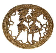 Round Brass Dhokra Art Depicting Tribal Folk Dancers