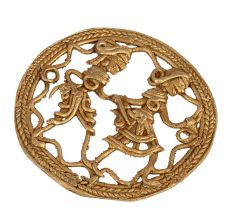 Brass Dhokra Wall Art Hanging Of Indian Farmer With Wife
