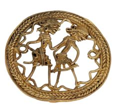 Round Brass Dhokra Wall Art Of Tribal Dancing Couple