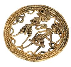 Brass Dancing Couple Dhokra Art With Rope design Border