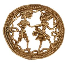 Round Rope Border Brass Dhokra Art Tribal Couple