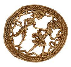 Round Rope Border Brass Dhokra Art Tribal Couple