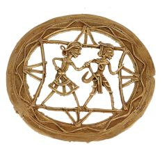 Round Latticed Brass Wall Hanging Jaali Design