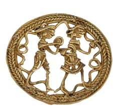Bell Metal Craft Tribal Figurine Round Brass Wall Art