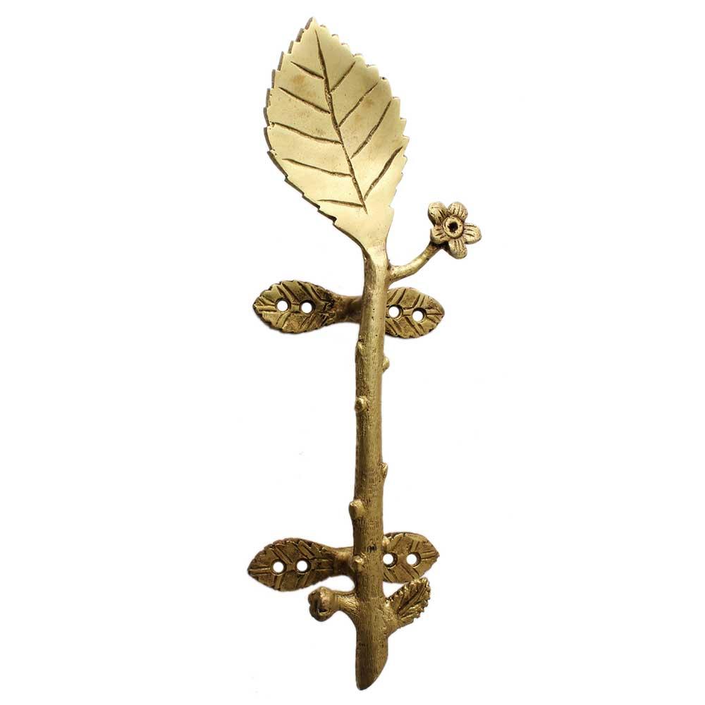 Golden Brass Leaf Figurine Door Handle