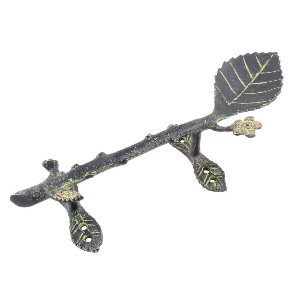 Brass Single Big And Small Leaves Door Handle Antique Finish