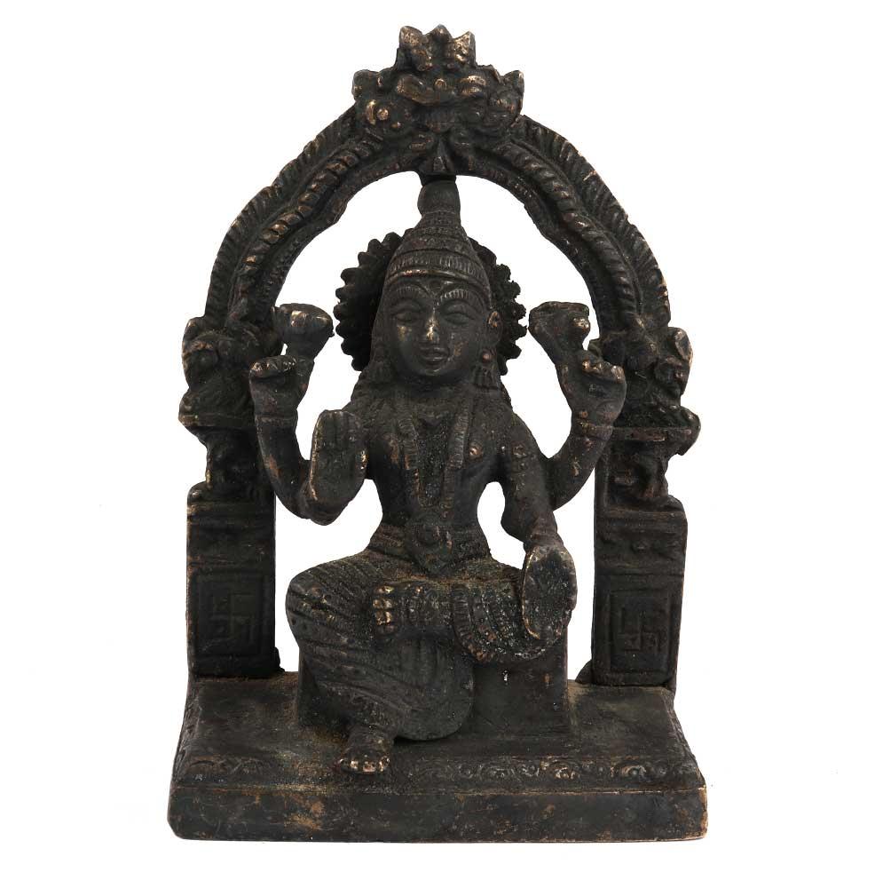 Black Brass Goddess Laxmi Statue On Chowki And Prabhavali