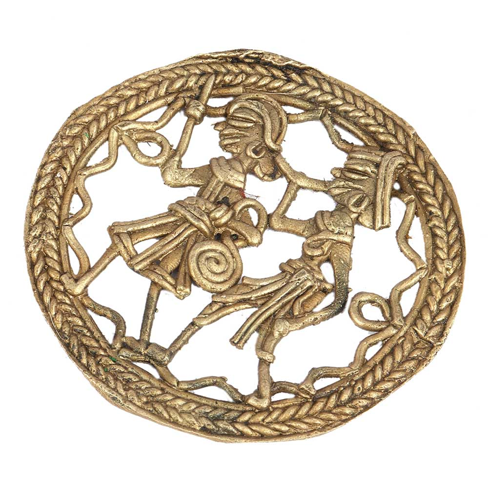 Round Brass Wall Hanging Dhokra Dancing Couple