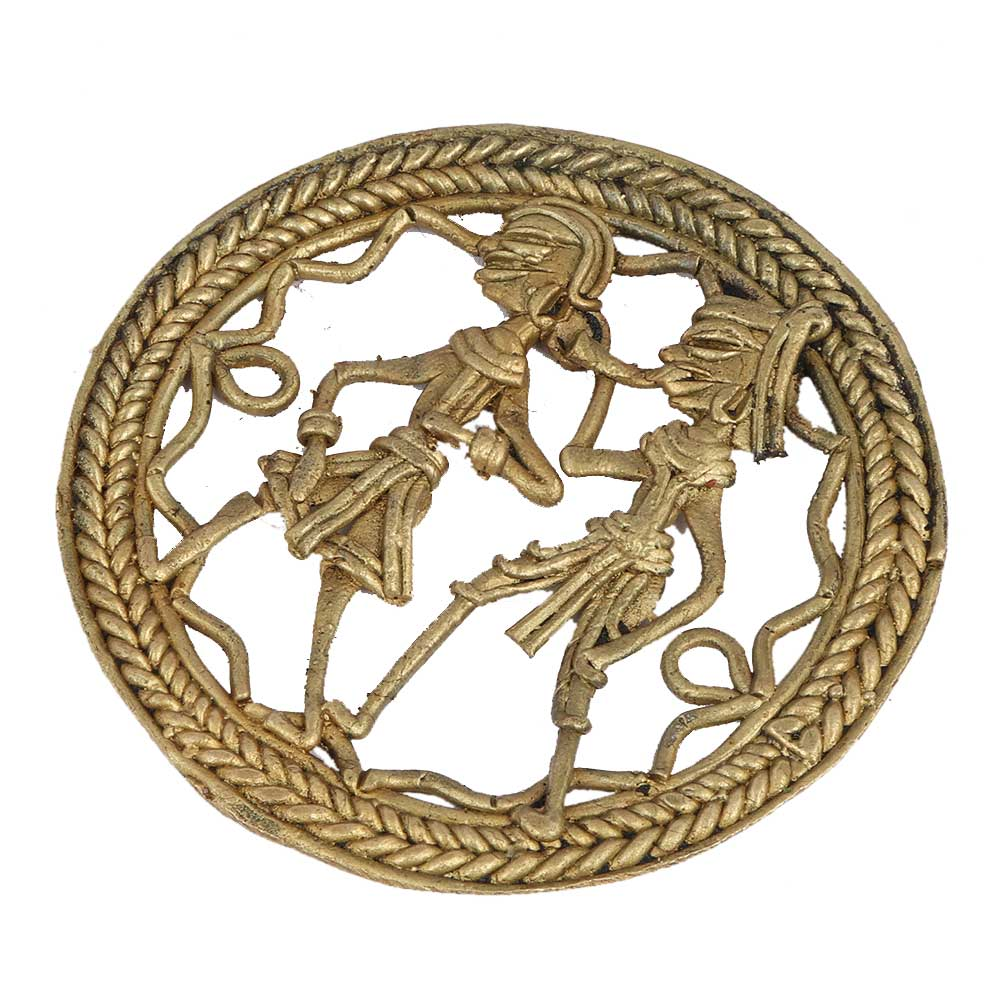 Round Brass Dhokra Wall Art Man With Trumpet Dancing Lady
