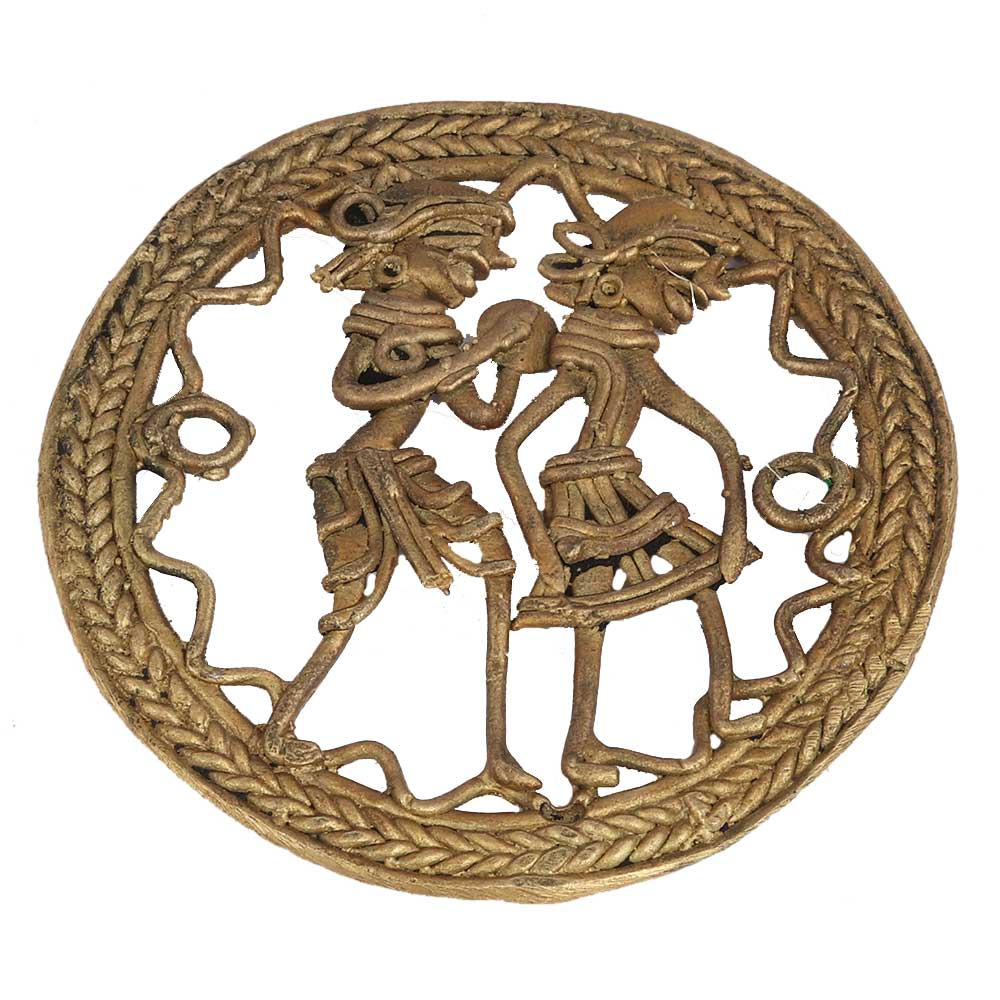 Round Brass Dhokra Art Depicting Tribal Folk Dancers
