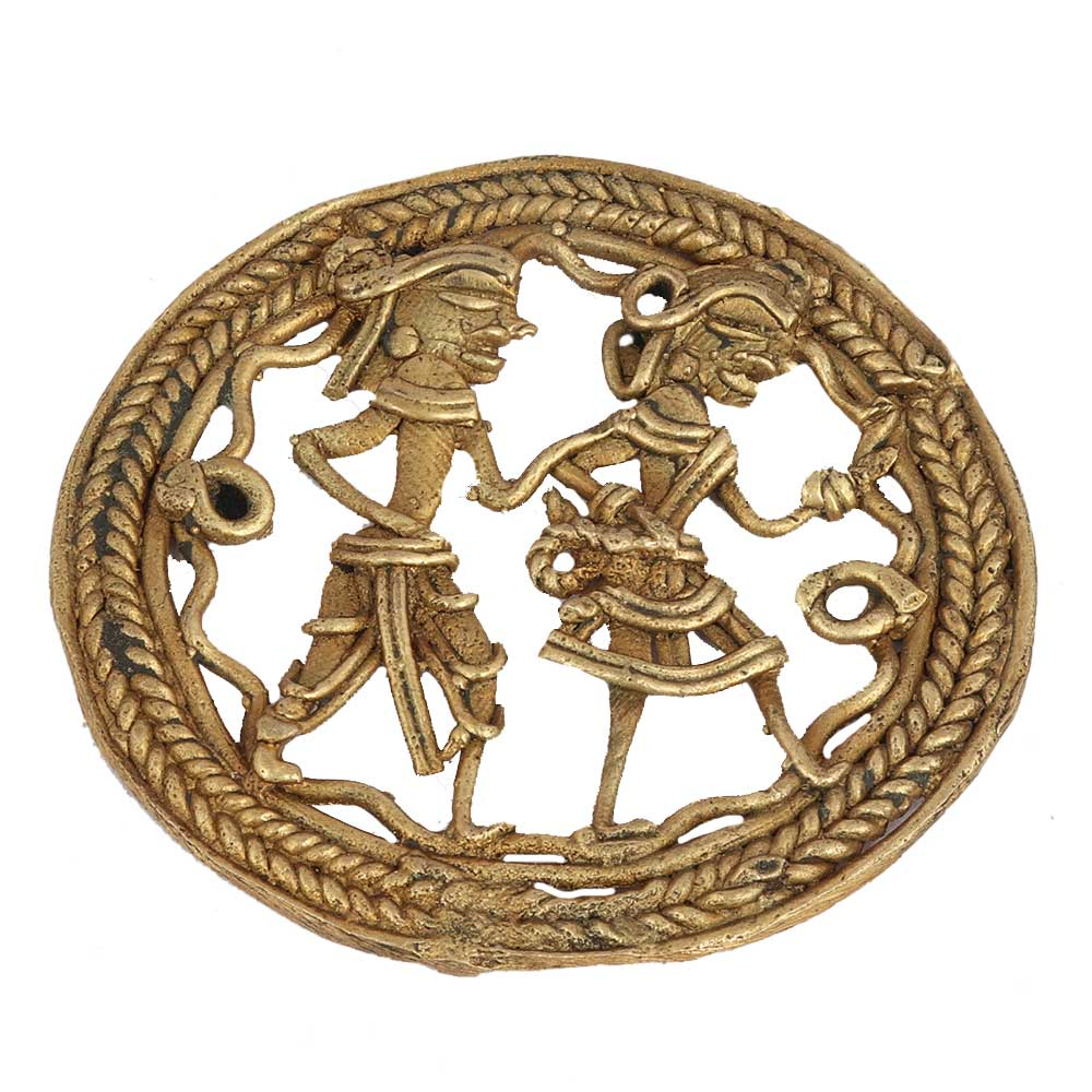 Indian Brass Dhokra Tribal People Hunting Wall Hanging