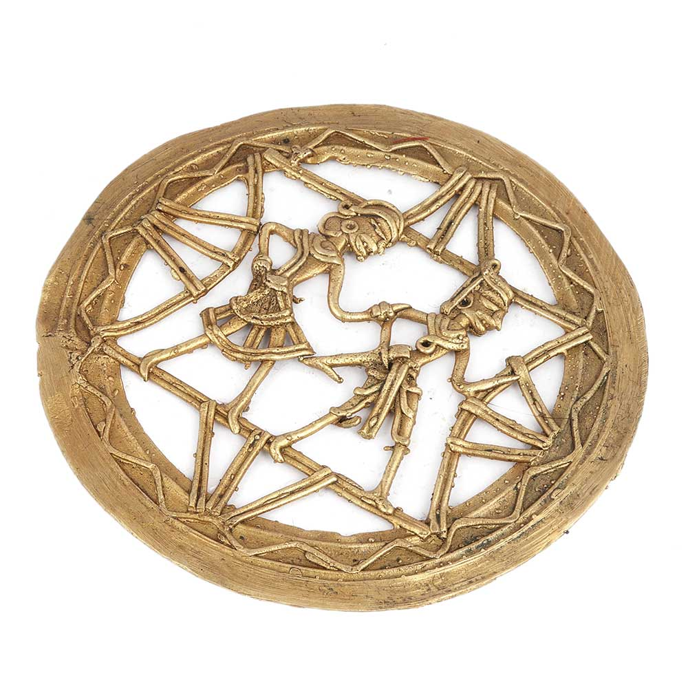 Brass Tribal Couple InTraditional Outfit With Intricate Design And Round Frame