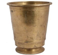 Golden Brass Tumbler Water Glass On Circular Base