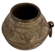 Brass Tribal Rice Measuring Pot With One Sided Ring Handle