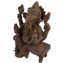 Auspicious Brass Ganesha Statue On Chowki