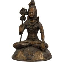 Brass Mahakal Shiva Meditating Statue On Lion Base