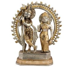 Hindu Radha Krishna Statue With Prabhavali With Silver Golden Finish