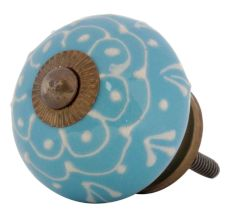 Turquoise Floral Embossed Cabinet knob