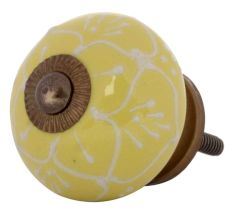Yellow Floral Embossed Cabinet knob