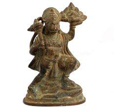 Brass Lord Hanuman Idol Holding Gadha And Dronagiri Mountain