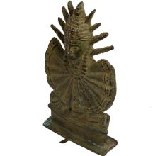 Old Brass Tribal Goddess Mata Statue With Unusual Outfit